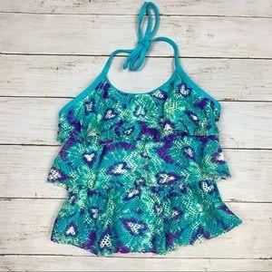 SO Heart Animal Print Halter Tankini Swimsuit Top